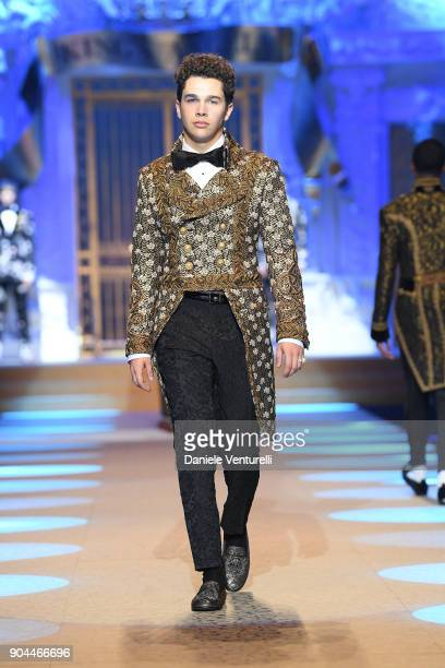 Austin Mahone Morning News walks the runway at the Dolce Gabbana show during Milan Men's Fashion Week Fall/Winter 2018/19 on January 13 2018 in Milan...