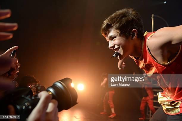 Austin Mahone performs at Fillmore Miami Beach on February 24 2014 in Miami Beach Florida