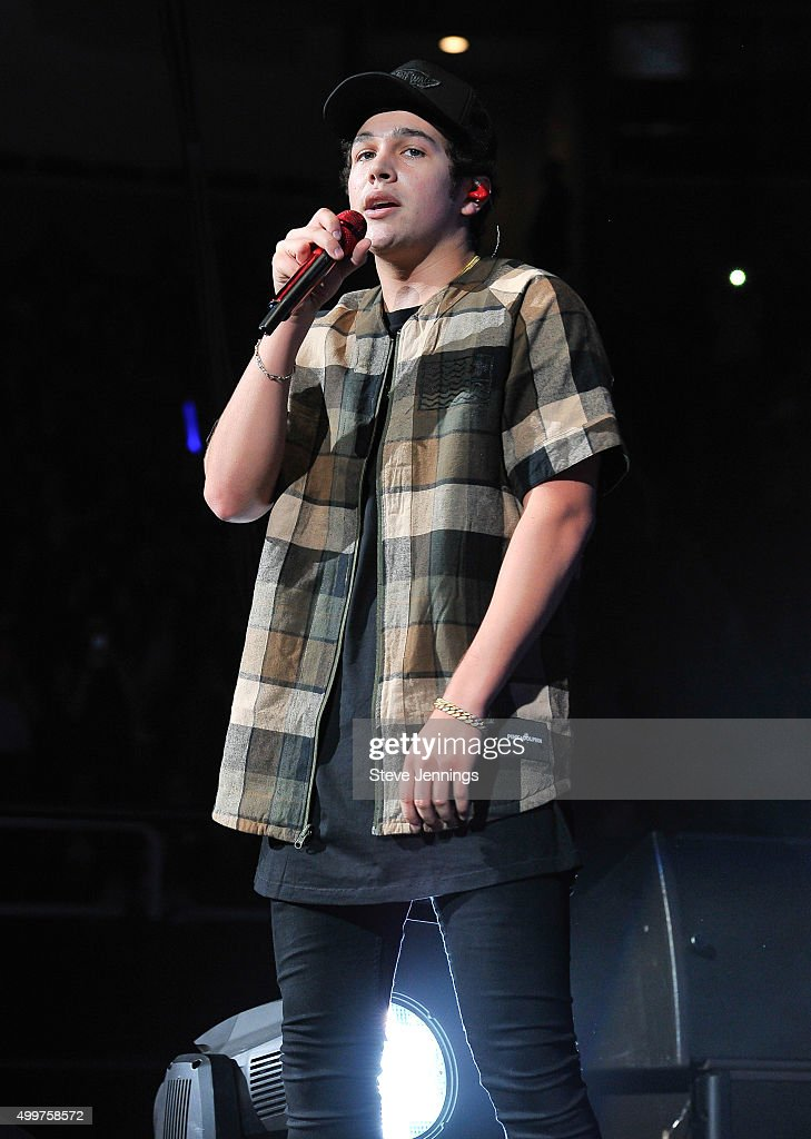 Austin Mahone performs at the 99.7 WOW! Triple Ho show at SAP Center on December 2, 2015 in San Jose, California.