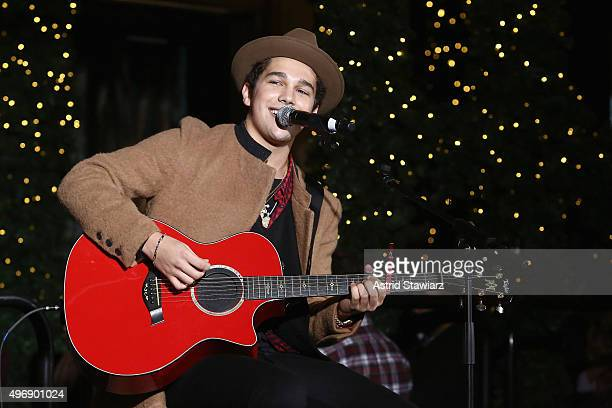 Austin Mahone performs at the Lord Taylor NYC 2015 Holiday Windows Unveiling With Austin Mahone on November 12 2015 in New York City