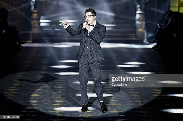 Austin Mahone performs at the the runway at the Dolce Gabbana Autumn Winter 2017 fashion show during Milan Menswear Fashion Week on January 14 2017...