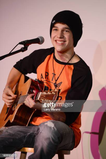 Austin Mahone performs at Y 100 radio station on March 12 2013 in Miami Florida