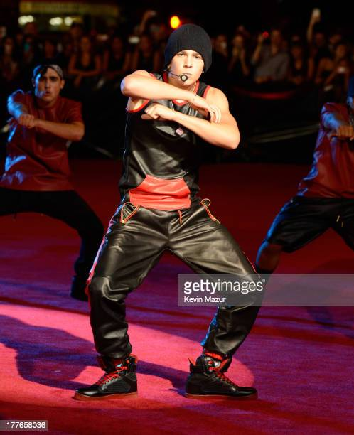 Austin Mahone performs during the 2013 MTV Video Music Awards preshow at the Barclays Center on August 25 2013 in the Brooklyn borough of New York...
