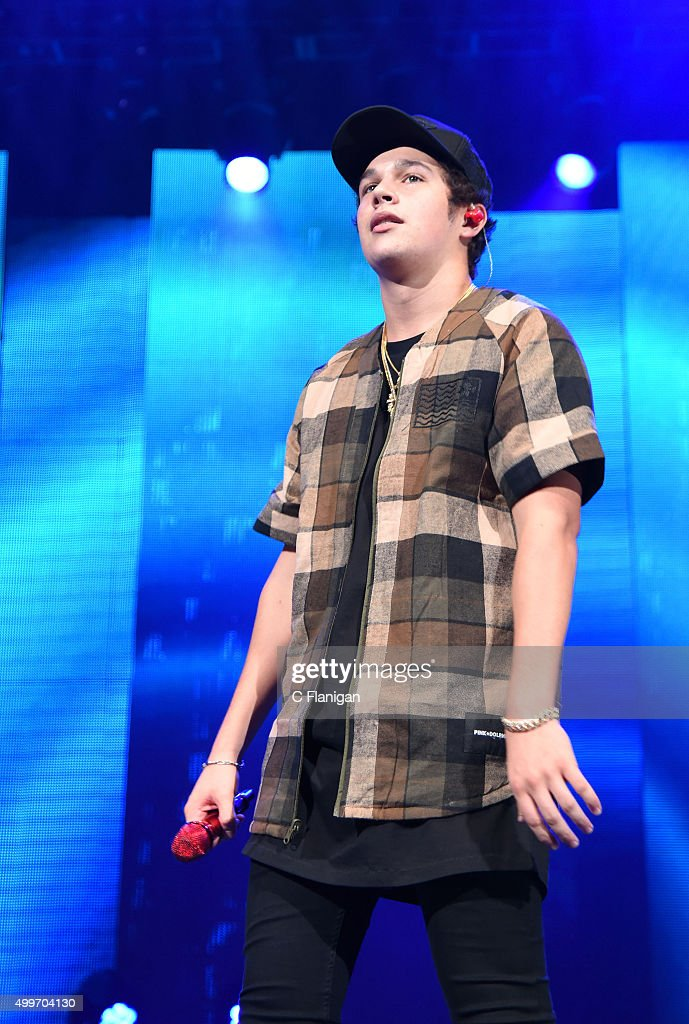 Austin Mahone performs during the 6th Annual 99.7 NOW! Triple Ho Show at SAP Center on December 2, 2015 in San Jose, California.