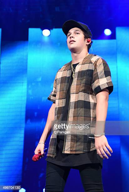Austin Mahone performs during the 6th Annual 997 NOW Triple Ho Show at SAP Center on December 2 2015 in San Jose California