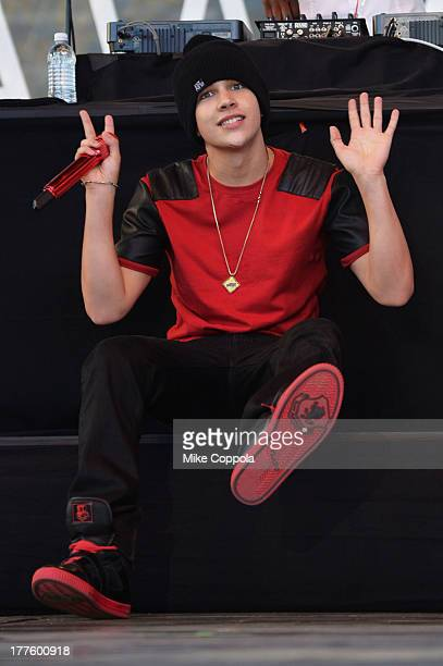Austin Mahone performs during the MTV VMA Truck Tour on Coney Island on August 24 2013 in the Brooklyn borough of New York City