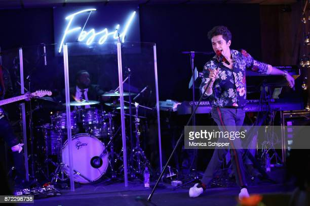 Austin Mahone performs on stage at the Fossil x Austin Mahone holiday event on November 9 2017 in New York City