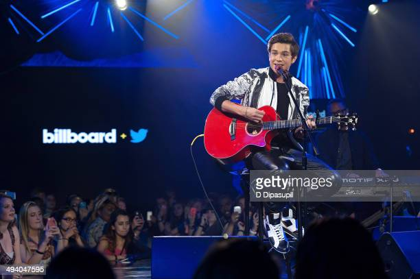 Austin Mahone performs on stage during the Billboard Twitter RealTime Charts launch at The Diamond Horseshoe on May 27 2014 in New York City