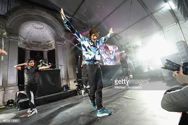 Austin Mahone performs onstage at the Aquafina FlavorSplash PepsiCo Super Bowl XLVIII celebration at Bryant Park on January 29 2014 in New York City