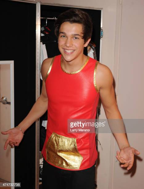 Austin Mahone poses for a portrait in his dressing room at Fillmore Miami Beach on February 24 2014 in Miami Beach Florida
