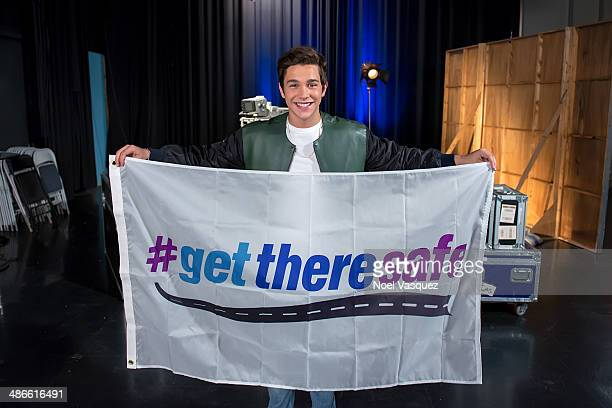 Austin Mahone records a Public Service Announcement for The Allstate Foundation's #GetThereSafe program on April 24 in Los Angeles Calif The flag...
