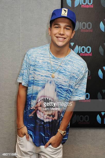 Austin Mahone visits Radio Station Y100 on July 14 2015 in Miami Florida