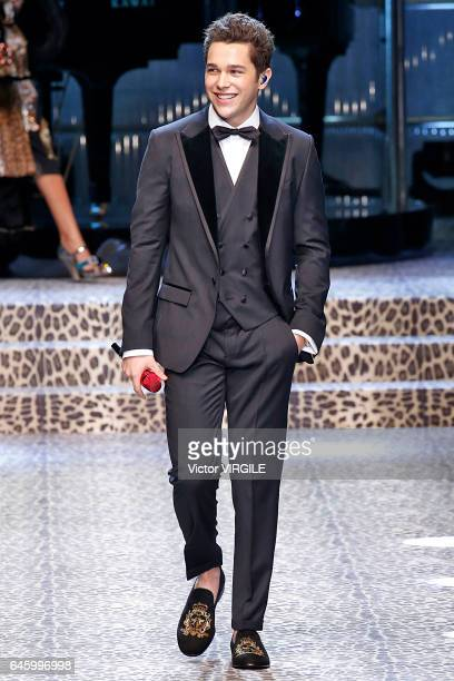 Austin Mahone walks the runway at the Dolce Gabbana Ready to Wear fashion show during Milan Fashion Week Fall/Winter 2017/18 on February 26 2017 in...