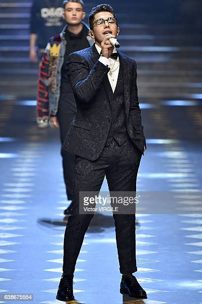 Austin Mahone walks the runway at the Dolce Gabbana show during Milan Men's Fashion Week Fall/Winter 2017/18 on January 14 2017 in Milan Italy