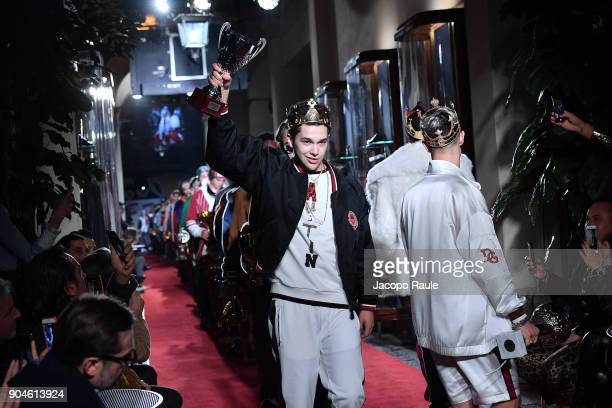 Austin Mahone walks the runway at the Dolce Gabbana Unexpected Show show during Milan Men's Fashion Week Fall/Winter 2018/19 on January 13 2018 in...