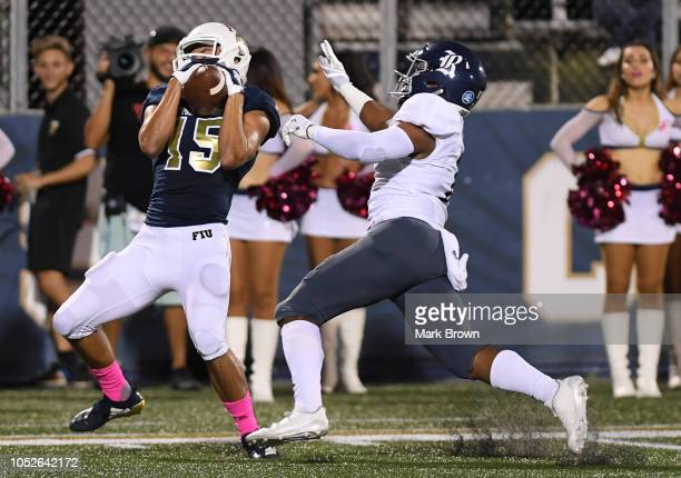 Austin Maloney of the FIU Golden Panthers makes a catch for a touchdown in the first half against the Rice Owls at Ricardo Silva Stadium on October...