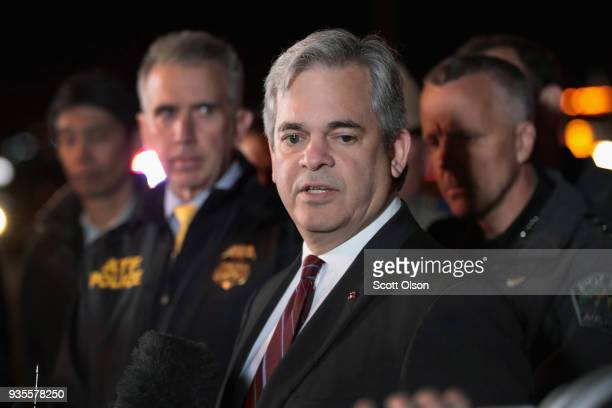 Austin Mayor Steve Adler speaks to the media near the location where the suspected package bomber was killed in suburban Austin on March 21 2018 in...