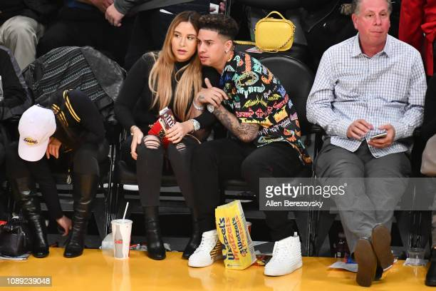Austin McBroom and Catherine Paiz attend a basketball game between the Los Angeles Lakers and the Oklahoma City Thunder at Staples Center on January...