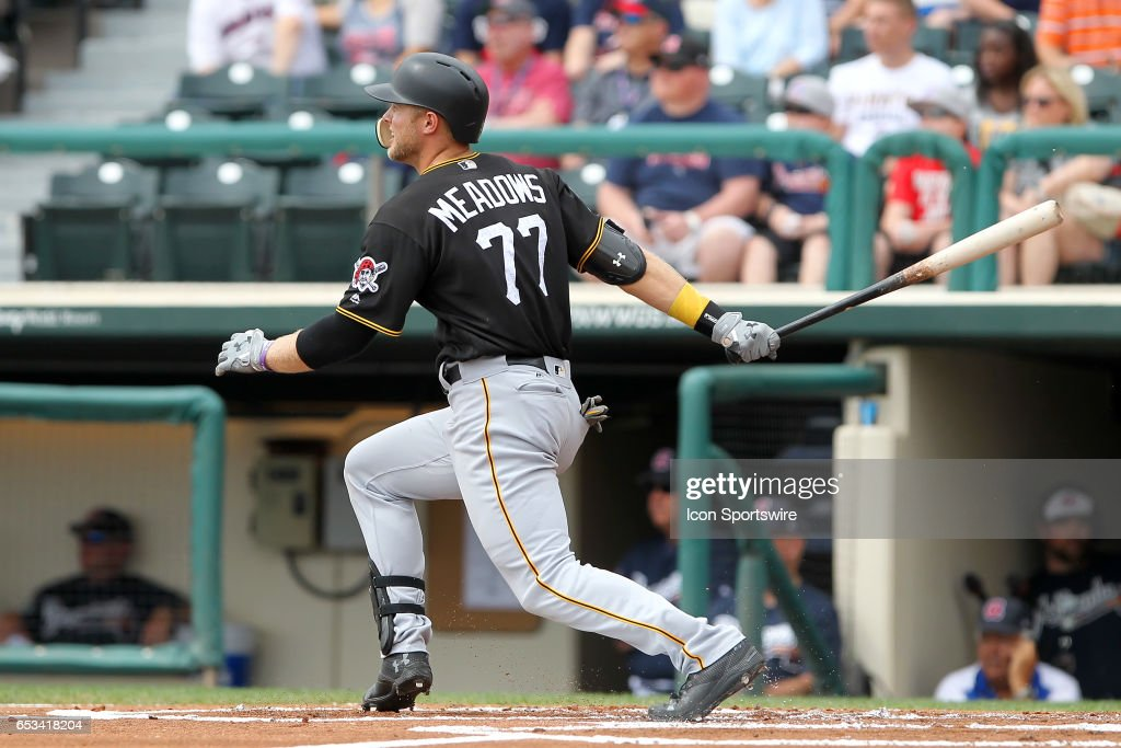Austin Meadows (77) of the Pirates at bat during the spring training game between the Pittsburgh Pirates and the Atlanta Braves on March 13, 2017 at Champion Stadium in Lake Buena Vista, Florida.