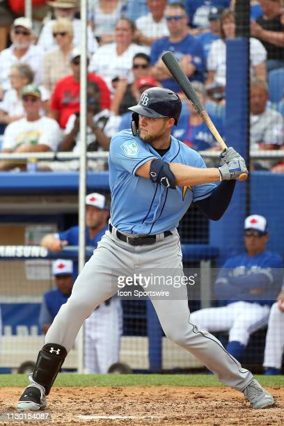 Austin Meadows of the Rays at bat during the spring training game between the Tampa Bay Rays and the Toronto Blue Jays on March 12 at the Dunedin...