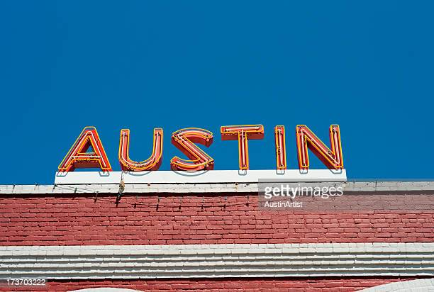 austin neon sign - austin texas stock pictures, royalty-free photos & images
