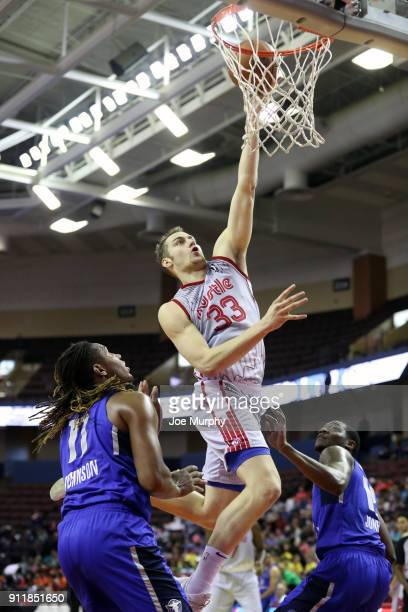 Austin Nichols of the Memphis Hustle drives to the basket against the Texas Legends during an NBA GLeague game on January 29 2018 at Landers Center...