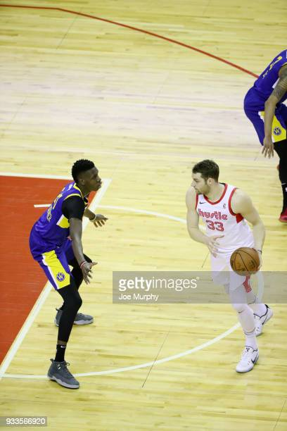Austin Nichols of the Memphis Hustle handles the ball against Santa Cruz Warriors during an NBA GLeague game on March 10 2018 at Landers Center in...