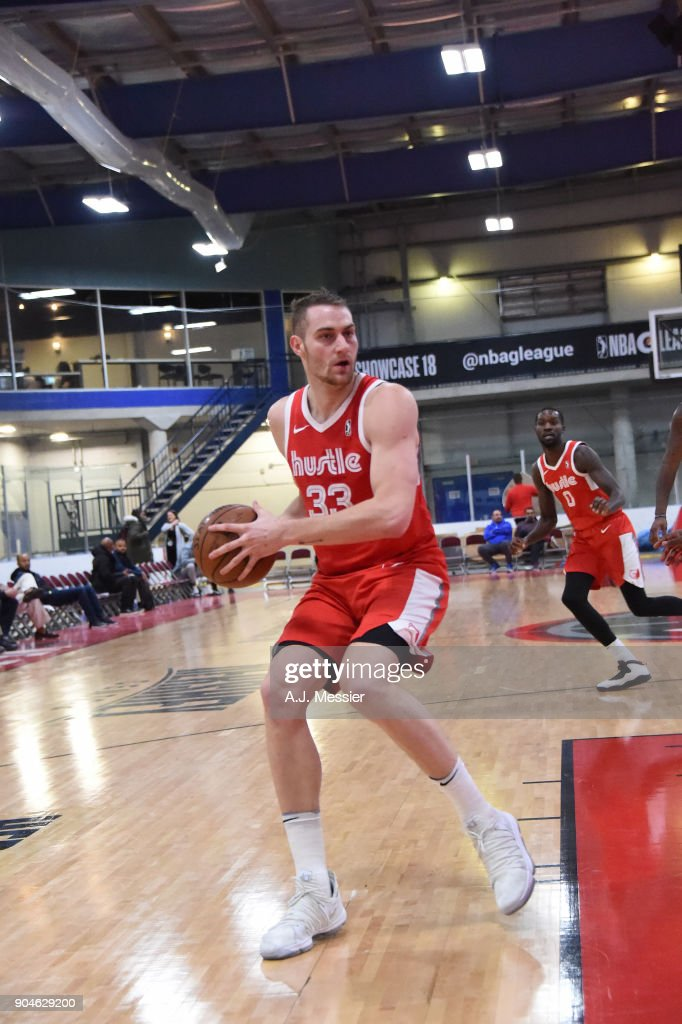 Austin Nichols #33 of the Memphis Hustle handles the ball during the NBA G-League Showcase Game 25 between the Memphis Hustle and the Maine Red Claws on January 13, 2018 at the Mississauga SportZone in Mississauga, Ontario Canada.