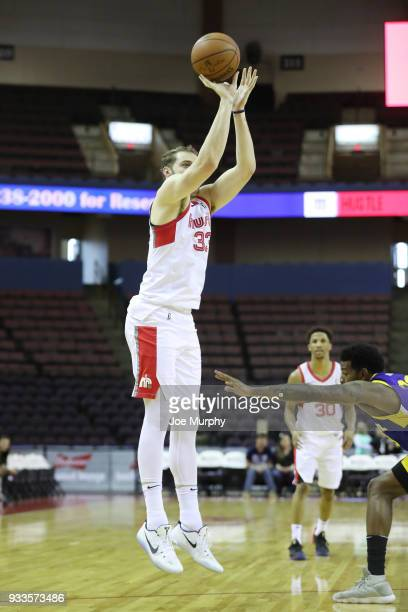 Austin Nichols of the Memphis Hustle shoots the ball against Santa Cruz Warriors during an NBA GLeague game on March 10 2018 at Landers Center in...