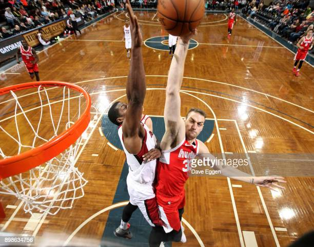 Austin Nichols of the Memphis Hustle takes the ball to the basket against Tony Mitchell of the Sioux Falls Skyforce during an NBA GLeague game on...