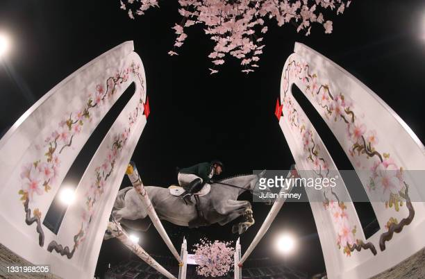 Austin O'Connor of Team Ireland riding Colorado Blue competes during the Eventing Individual Jumping Final on day ten of the Tokyo 2020 Olympic...