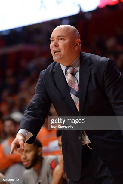 Austin Peay Governors head coach Matt Figger points to the base line telling a player to move during the college basketball game between the Austin...
