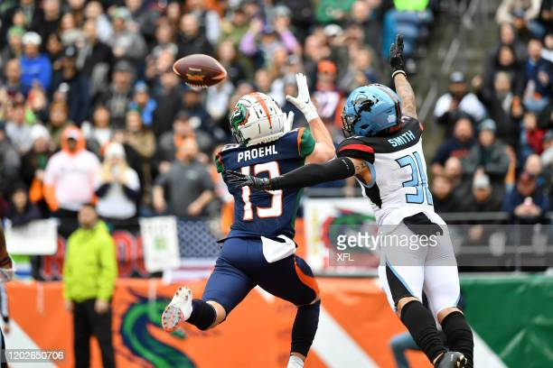 Austin Proehl of the Seattle Dragons catches a touchdown during the XFL game against the Dallas Renegades at CenturyLink Field on February 22, 2020...