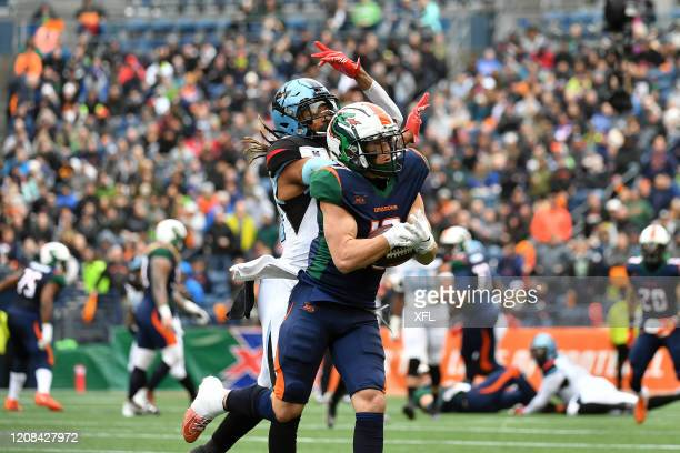 Austin Proehl of the Seattle Dragons makes catch during the XFL game against the Dallas Renegades at CenturyLink Field on February 22, 2020 in...