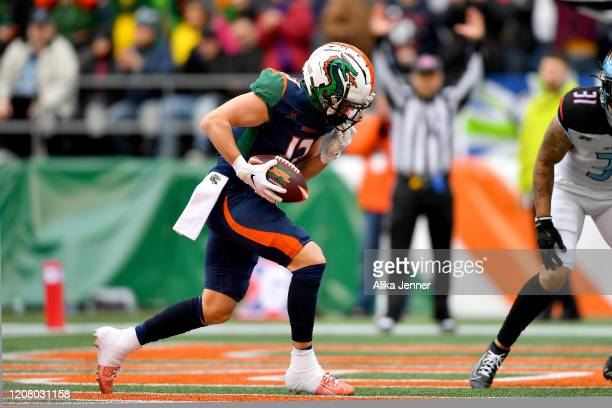 Austin Proehl of the Seattle Dragons scores on a touchdown pass from Brandon Silvers during the first quarter of the game against the Dallas...