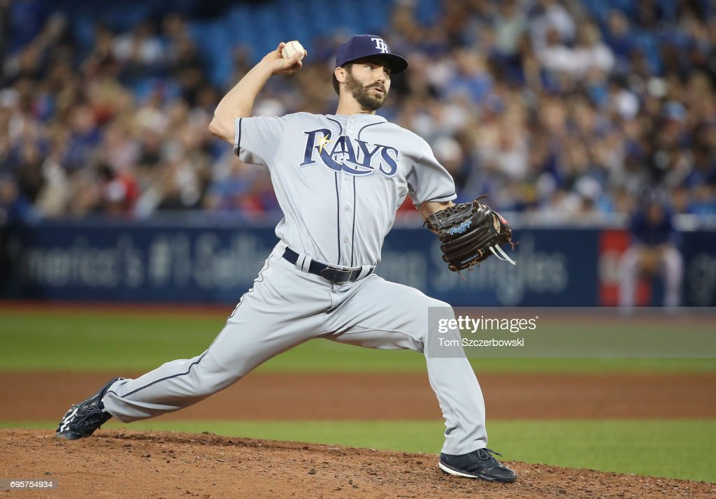 Austin Pruitt #50 of the Tampa Bay Rays delivers a pitch in the seventh inning during MLB game action against the Toronto Blue Jays at Rogers Centre on June 13, 2017 in Toronto, Canada.
