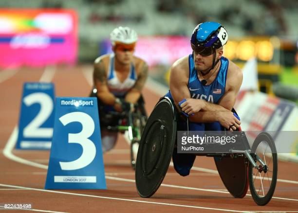 Austin Pruitt of USA compete Men's 400m T34 Final during World Para Athletics Championships Day Three at London Stadium in London on July 17 2017