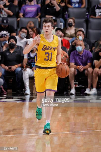 Austin Reaves of the Los Angeles Lakers dribbles the ball against the Sacramento Kings during the 2021 California Classic Summer League on August 4,...