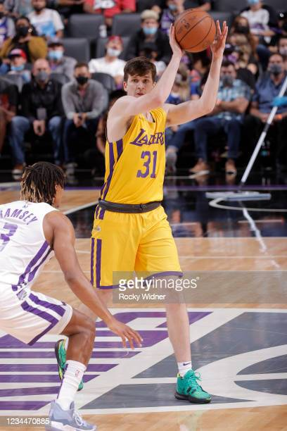 Austin Reaves of the Los Angeles Lakers handles the ball against the Sacramento Kings during the 2021 California Classic Summer League on August 4,...