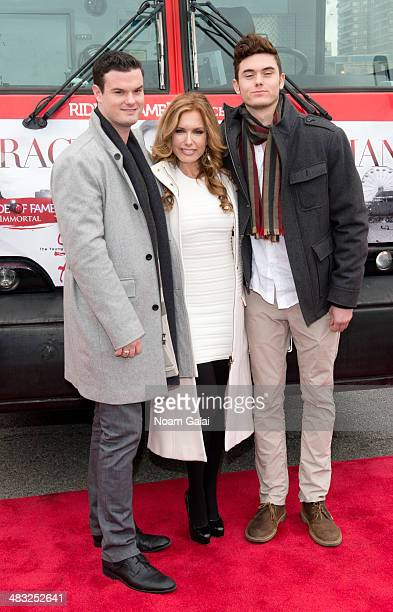 Austin Recht actress Tracey Bregman and Landon Recht attend the Ride of Fame induction ceremony for Tracey Bregman at Pier 78 on April 7 2014 in New...