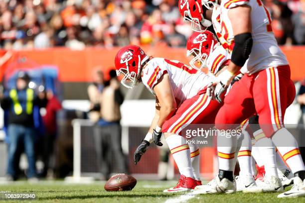 Austin Reiter of the Kansas City Chiefs prepares to snap the ball during the game against the Cleveland Browns at FirstEnergy Stadium on November 4...