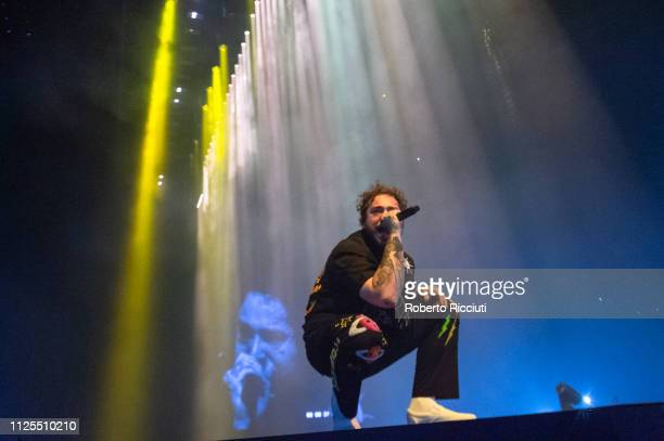 Austin Richard Post known professionally as Post Malone performs on stage at The SSE Hydro on February 17 2019 in Glasgow Scotland