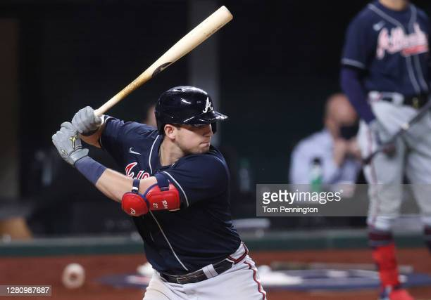 Austin Riley of the Atlanta Braves at bat against the Los Angeles Dodgers during the sixth inning in Game Seven of the National League Championship...