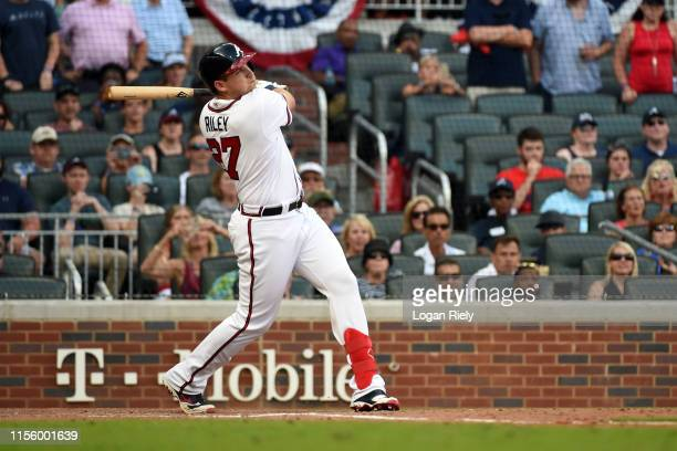 Austin Riley of the Atlanta Braves at bat against the Miami Marlins at SunTrust Park on Saturday July 6 2019 in Atlanta Georgia