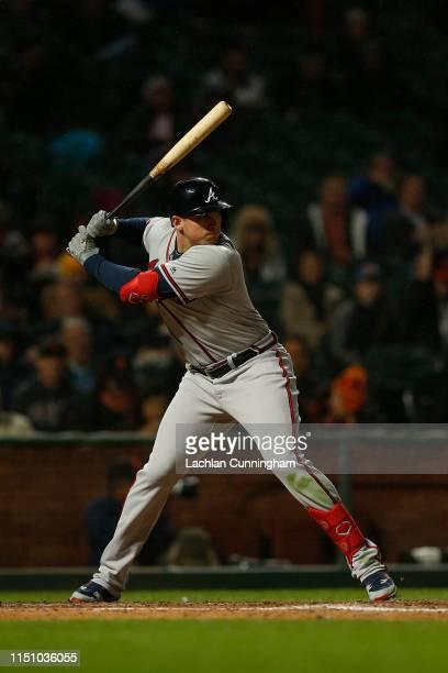 Austin Riley of the Atlanta Braves at bat against the San Francisco Giants at Oracle Park on May 21 2019 in San Francisco California