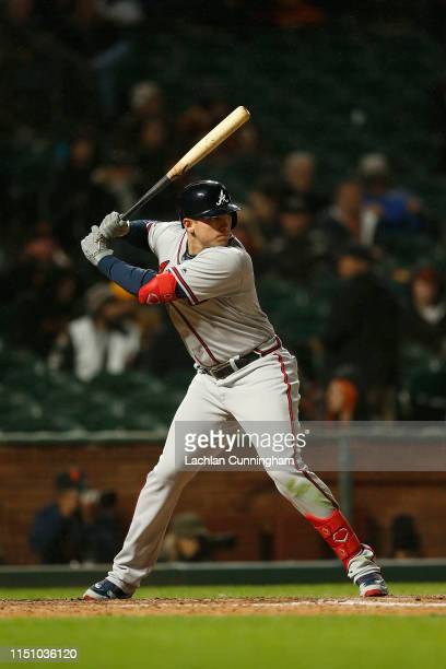 Austin Riley of the Atlanta Braves at bat against the San Francisco Giants at Oracle Park on May 21 2019 in San Francisco California