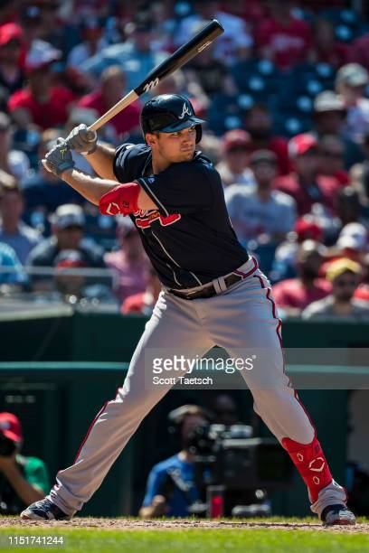 Austin Riley of the Atlanta Braves at bat against the Washington Nationals during the ninth inning at Nationals Park on June 23 2019 in Washington DC