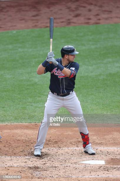 Austin Riley of the Atlanta Braves bats against the New York Mets during Opening Day at Citi Field on July 24, 2020 in New York City. The 2020 season...