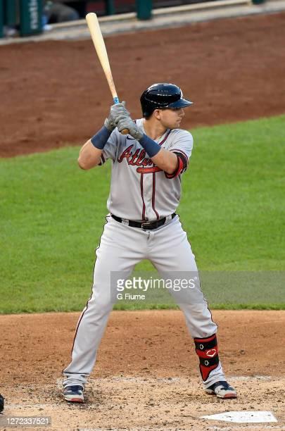 Austin Riley of the Atlanta Braves bats against the Washington Nationals at Nationals Park on September 11, 2020 in Washington, DC.