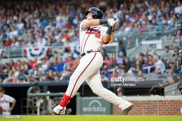 Austin Riley of the Atlanta Braves bats during the game against the Milwaukee Brewers at SunTrust Park on May 18 2019 in Atlanta Georgia